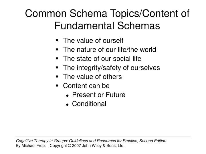 Common Schema Topics/Content of Fundamental Schemas