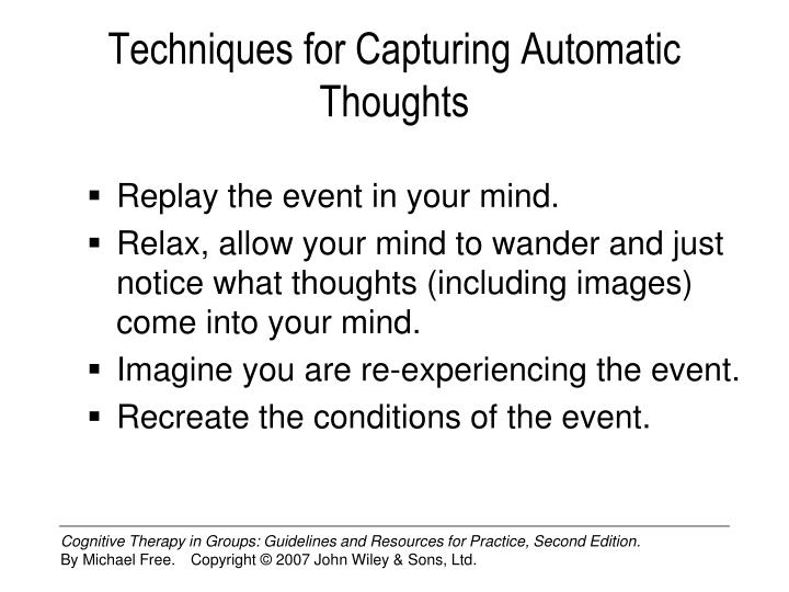 Techniques for Capturing Automatic Thoughts