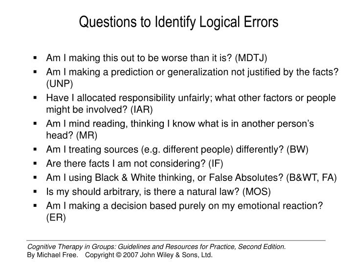 Questions to Identify Logical Errors