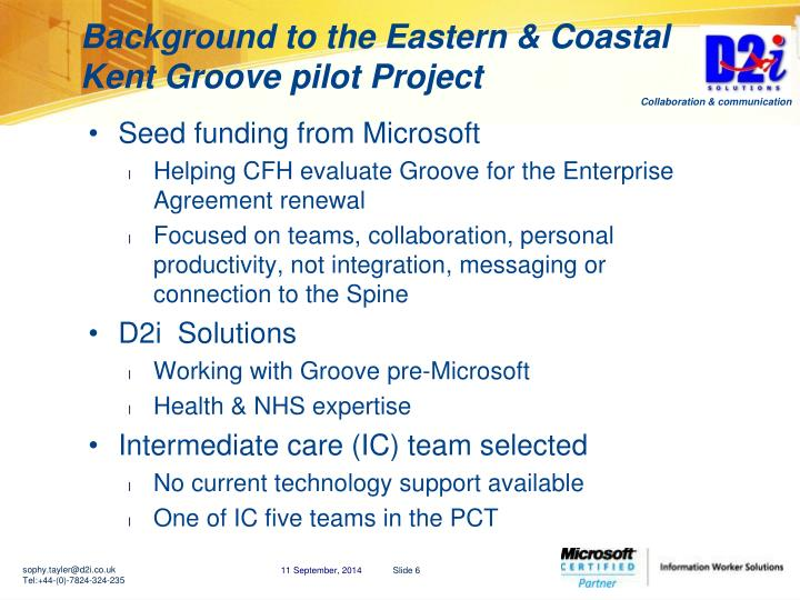 Background to the Eastern & Coastal Kent Groove pilot Project