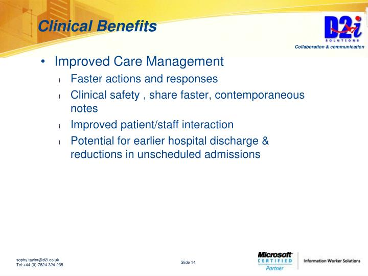 Clinical Benefits