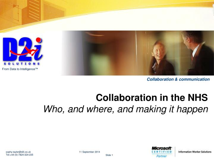 Collaboration in the nhs who and where and making it happen