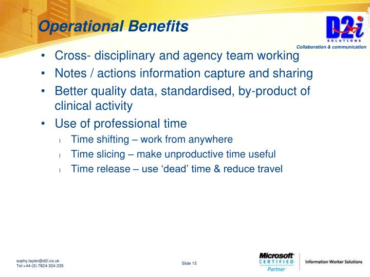 Operational Benefits