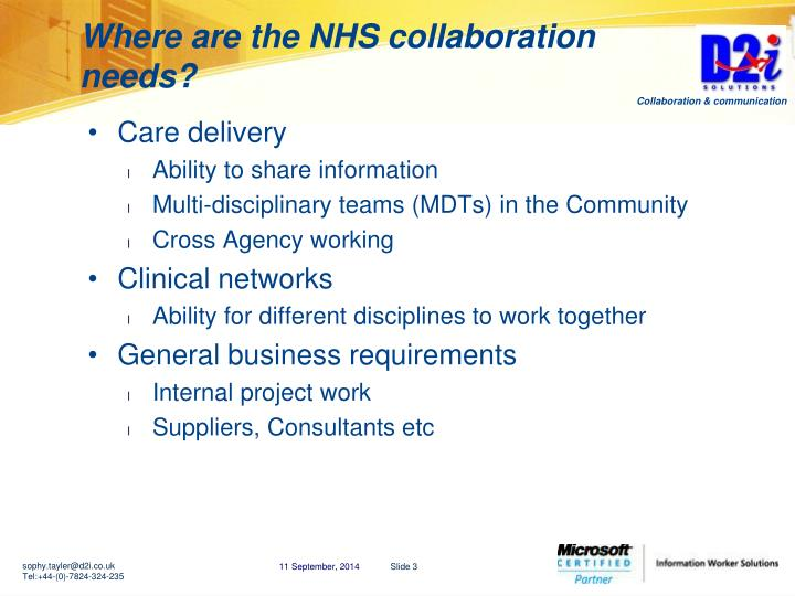 Where are the NHS collaboration needs?