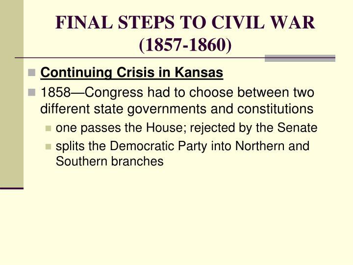 FINAL STEPS TO CIVIL WAR (1857-1860)