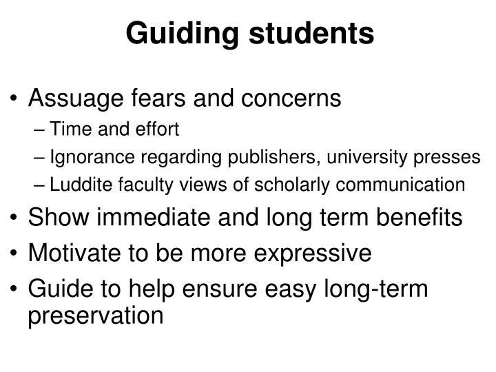 Guiding students