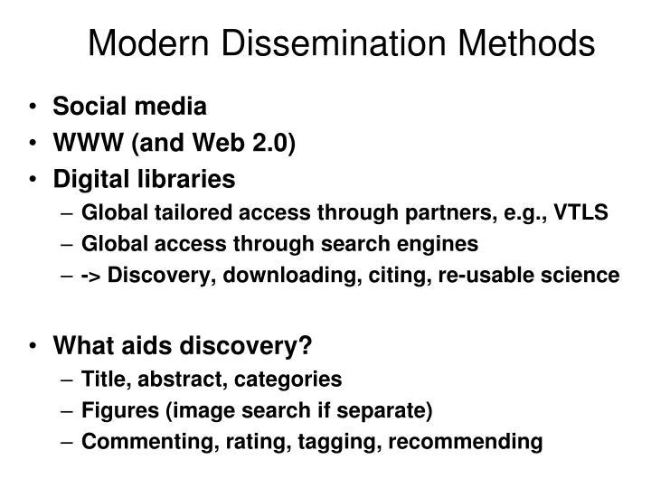 Modern Dissemination Methods