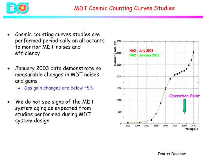 MDT Cosmic Counting Curves Studies