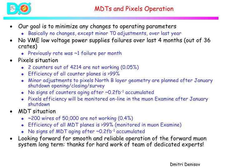 MDTs and Pixels Operation