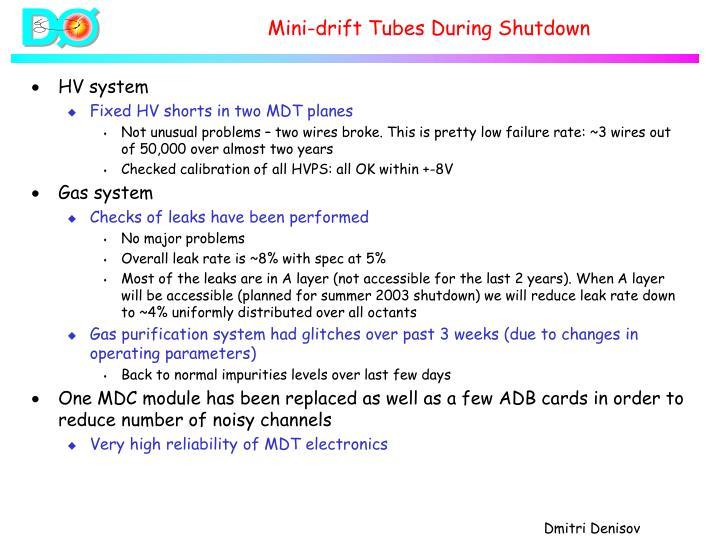 Mini-drift Tubes During Shutdown