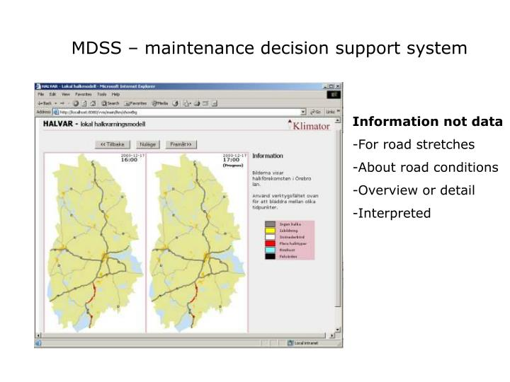 MDSS – maintenance decision support system