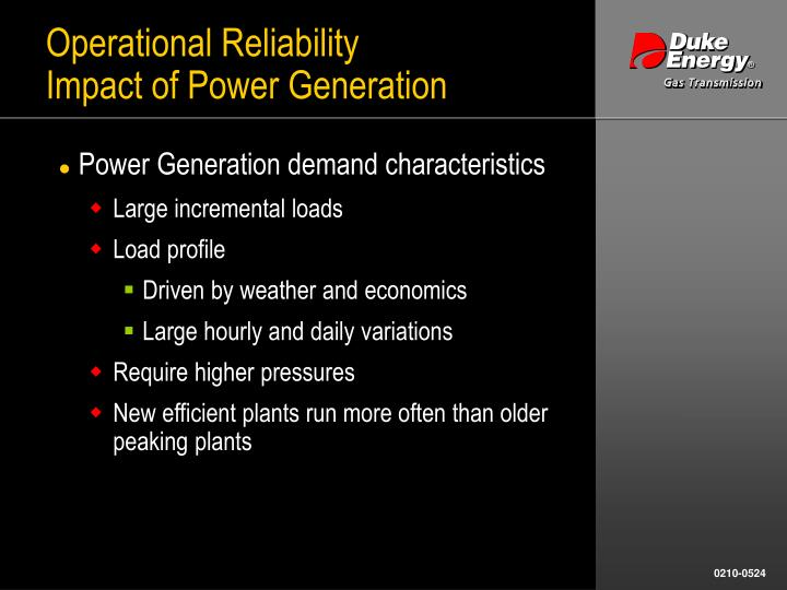 Operational reliability impact of power generation