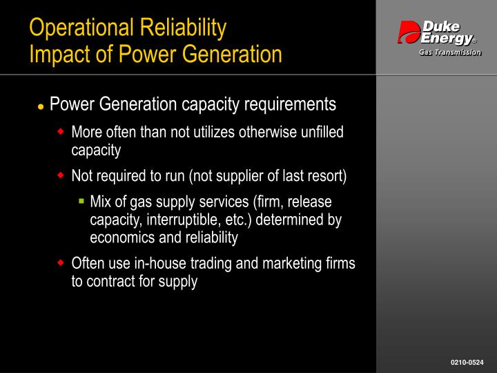 Operational reliability impact of power generation1