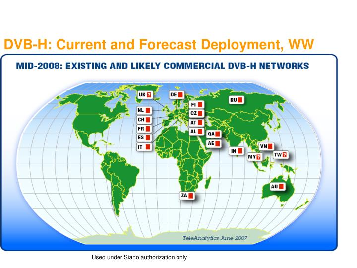 DVB-H: Current and Forecast Deployment, WW