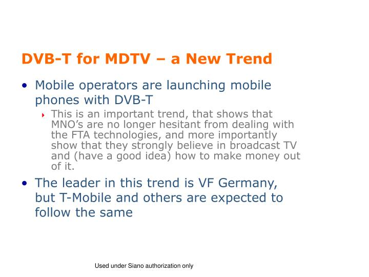 DVB-T for MDTV – a New Trend