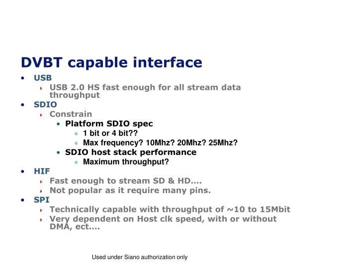 DVBT capable interface