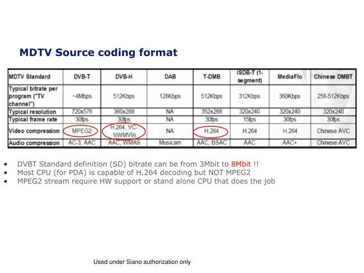 MDTV Source coding format
