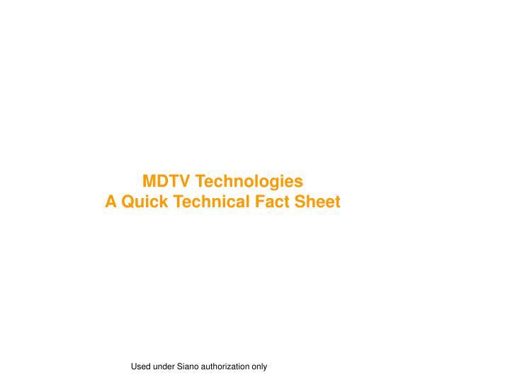 MDTV Technologies