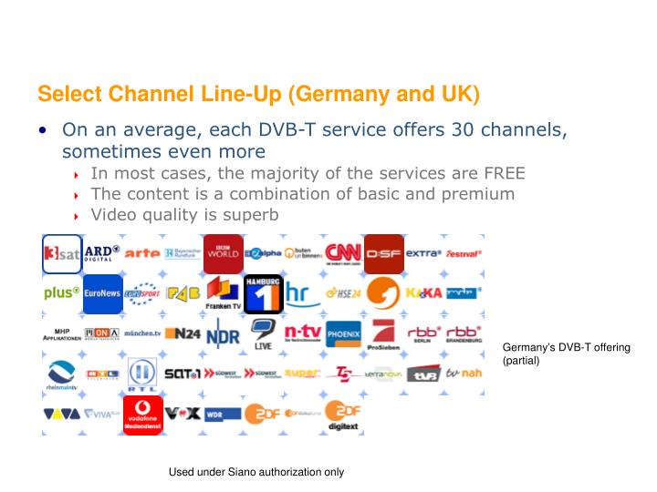 Select Channel Line-Up (Germany and UK)