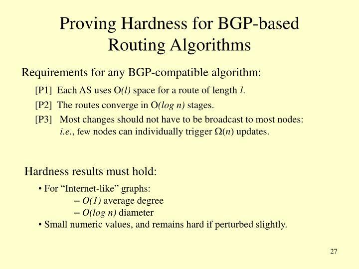 Proving Hardness for BGP-based