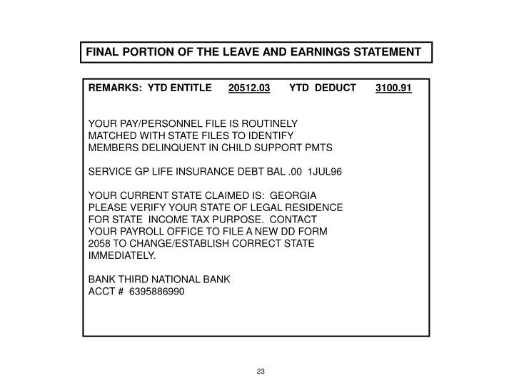 FINAL PORTION OF THE LEAVE AND EARNINGS STATEMENT