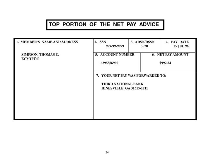 TOP  PORTION  OF  THE  NET  PAY  ADVICE