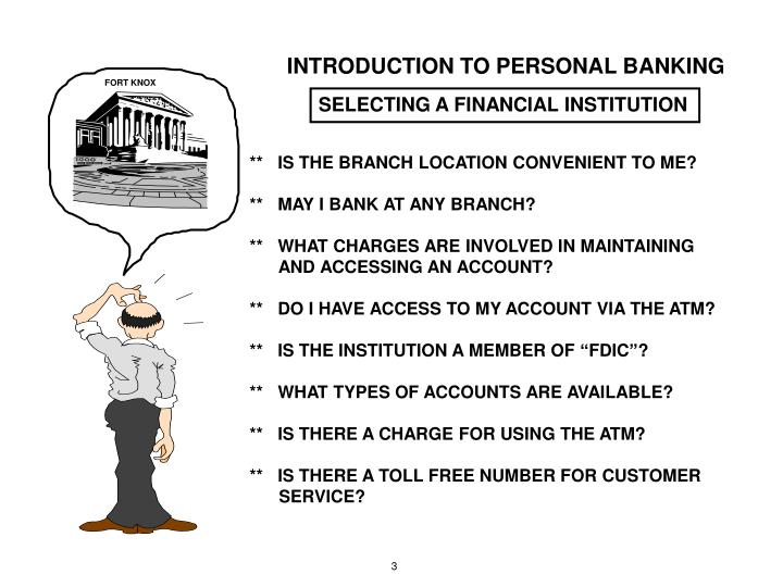 INTRODUCTION TO PERSONAL BANKING