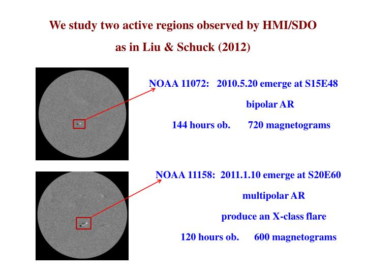 We study two active regions observed by HMI/SDO