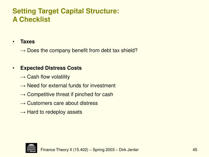 Setting Target Capital Structure: