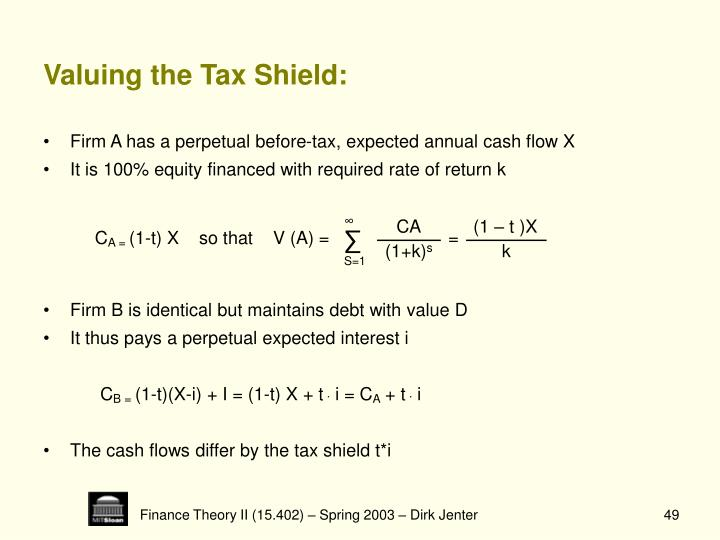 Valuing the Tax Shield: