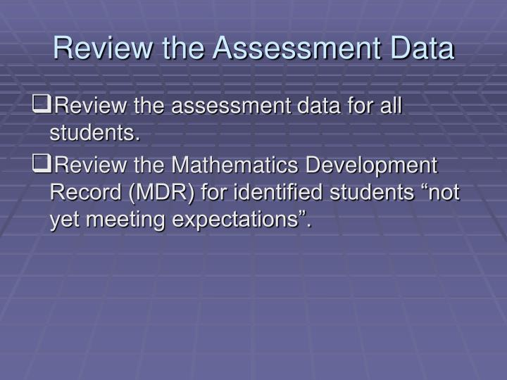 Review the Assessment Data