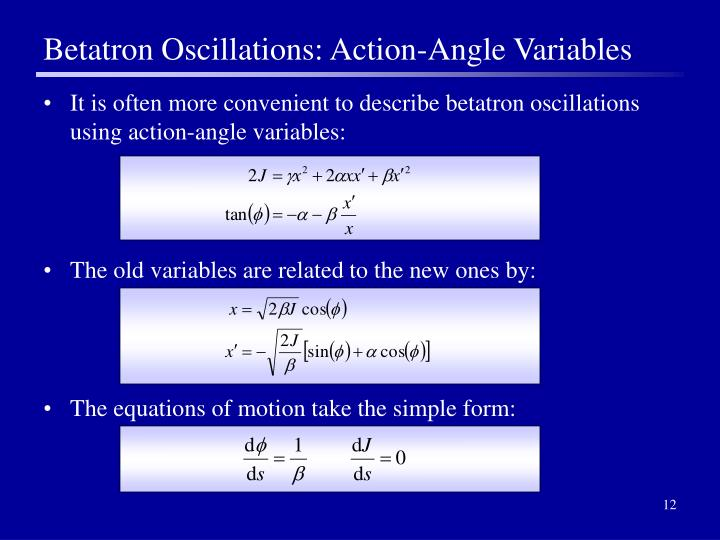 Betatron Oscillations: Action-Angle Variables