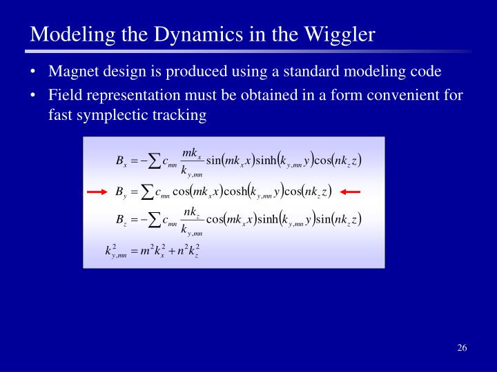 Modeling the Dynamics in the Wiggler