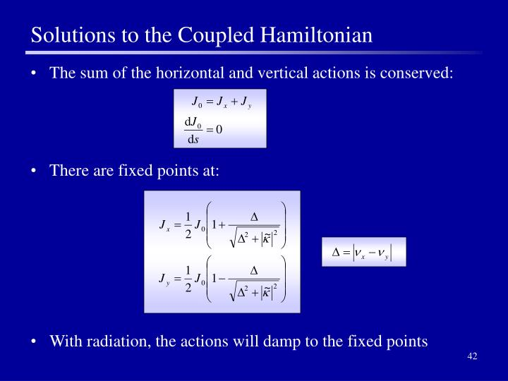 Solutions to the Coupled Hamiltonian