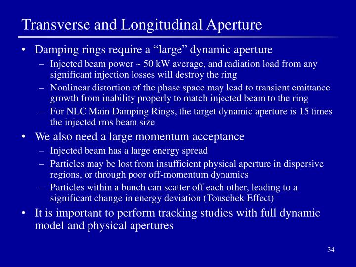 Transverse and Longitudinal Aperture
