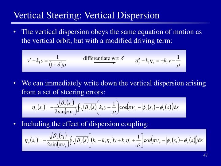 Vertical Steering: Vertical Dispersion