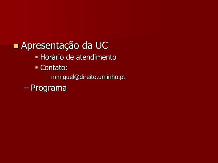 Apresentação da UC