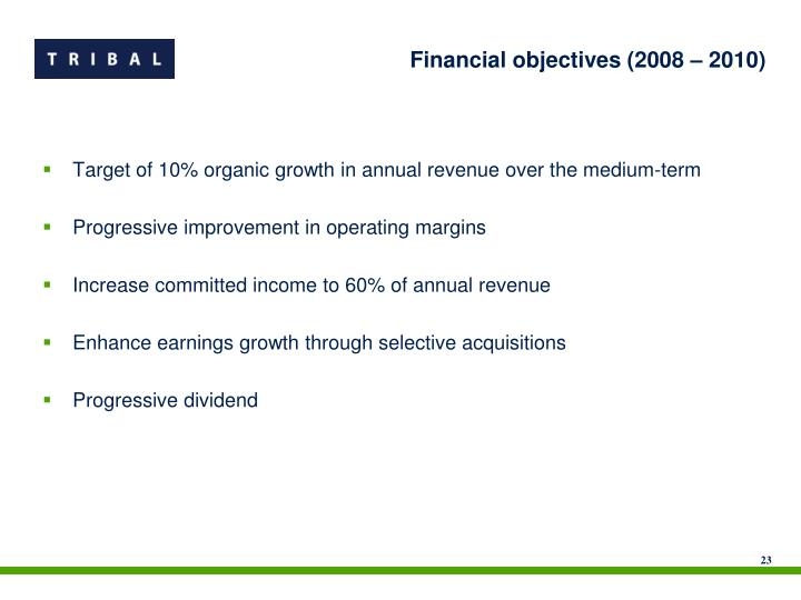 Financial objectives (2008 – 2010)