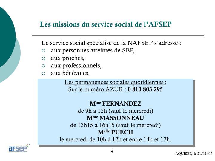 Les missions du service social de l'AFSEP