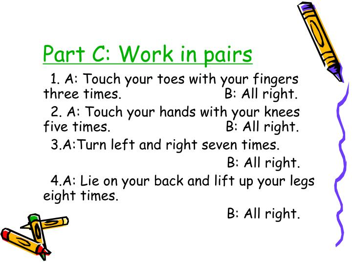 Part c work in pairs