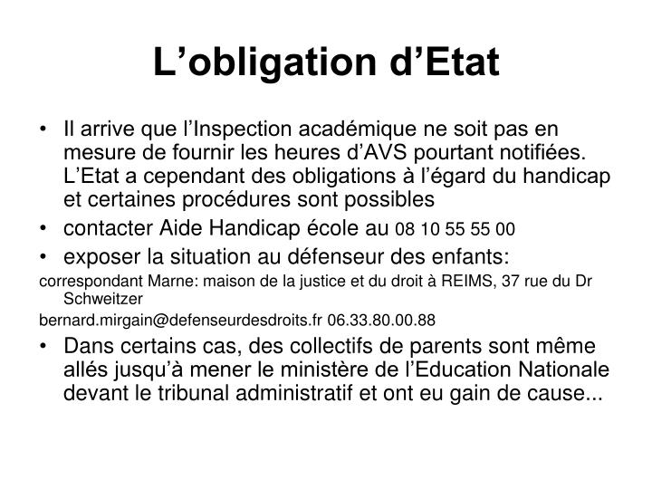 L'obligation d'Etat