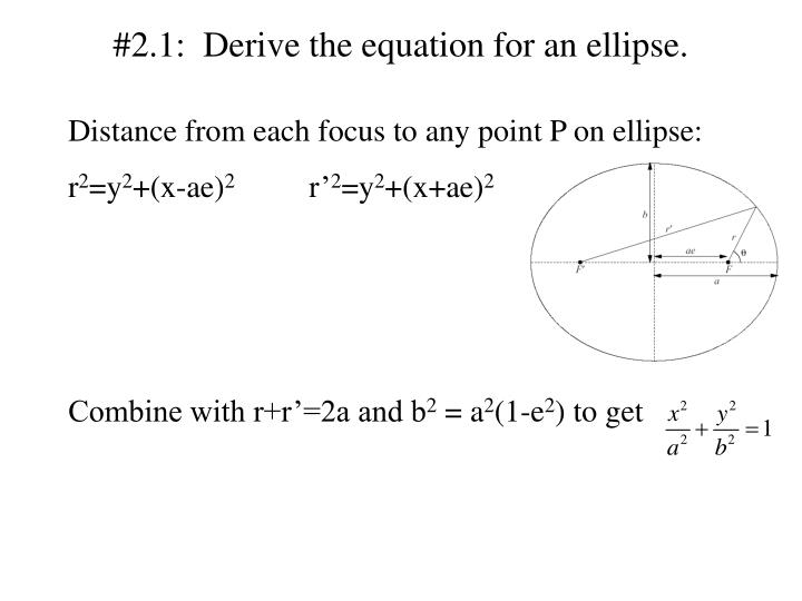 2 1 derive the equation for an ellipse