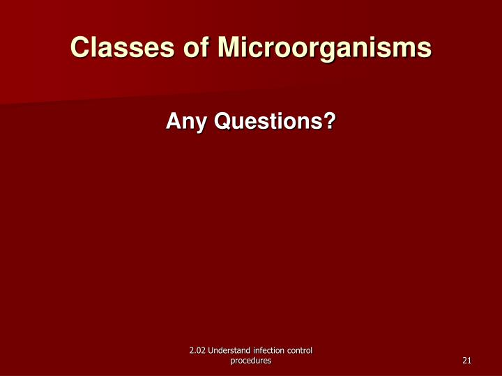 Classes of Microorganisms