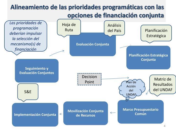 Alineamiento de las prioridades programáticas con las opciones de financiación conjunta