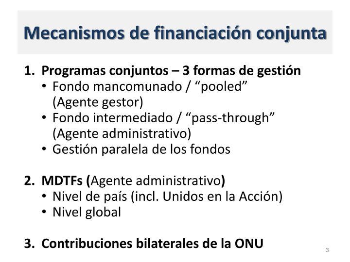 Mecanismos de financiación conjunta