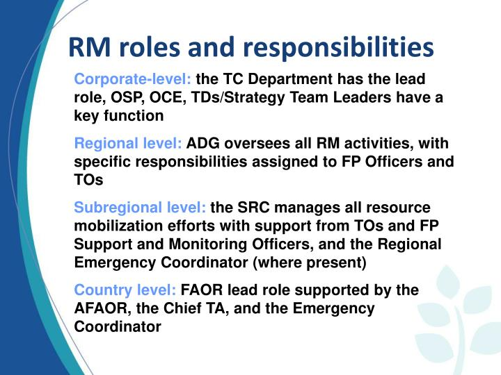 RM roles and responsibilities