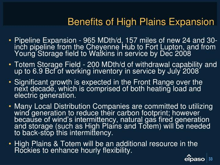 Benefits of High Plains Expansion