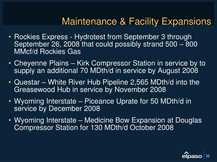 Maintenance & Facility Expansions