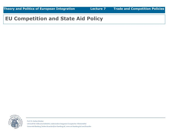 EU Competition and State Aid Policy