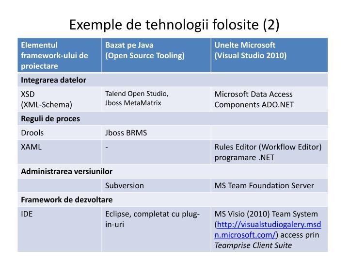 Exemple de tehnologii folosite (2)